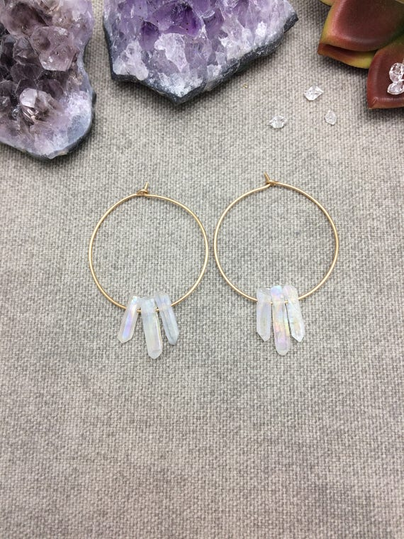 Quartz Hoop Earrings, Raw Quartz Point Earrings