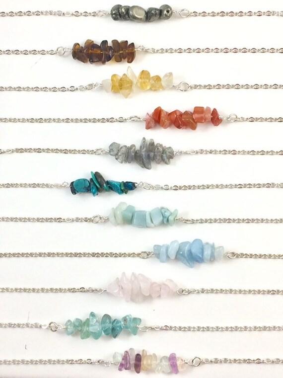 Raw Gemstone Chip Bar Necklace