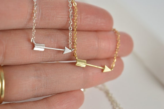 Arrow Necklace, Gold or Silver, Short Dainty Delicate Arrow Necklace, Archery Necklace, Horizontal Sideways Personalized Arrow Necklace