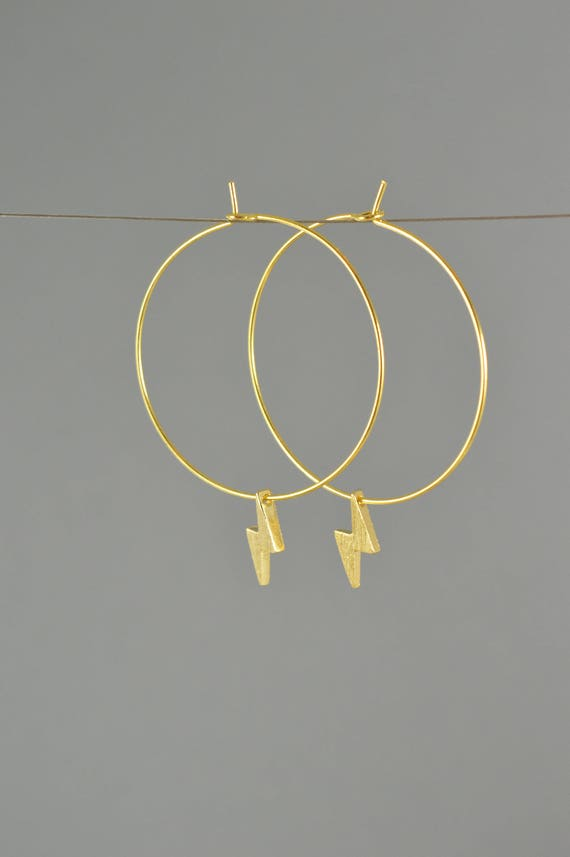 Lightning Bolt Hoop Earrings in Gold, Rose Gold, or Silver
