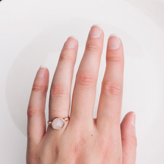 Rose Quartz Faceted Ring