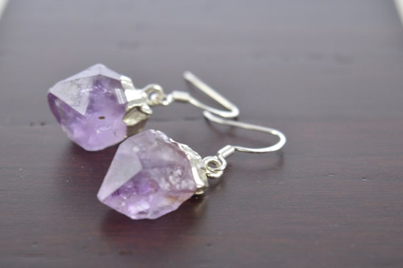 Gold or Silver Dipped Amethyst Point Earrings