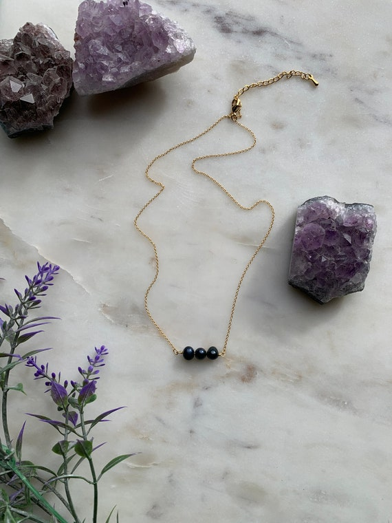 Dainty 5mm Black Freshwater Pearl Necklace