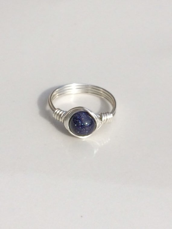 Blue Goldstone Wire Ring