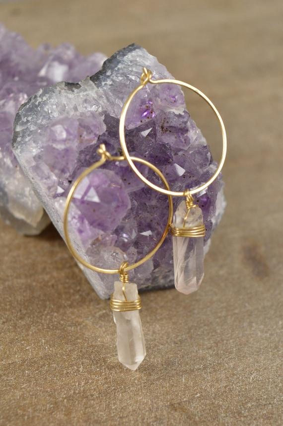 Quartz Crystal Clear Wire Wrapped Hoop Earrings, Raw Quartz Point Earrings