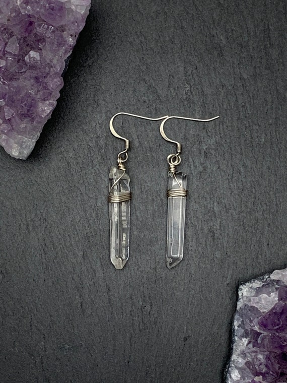 Polished Raw Quartz Crystal Point Earrings, Quartz Crystal Point Earrings, Raw Crystal Earrings,