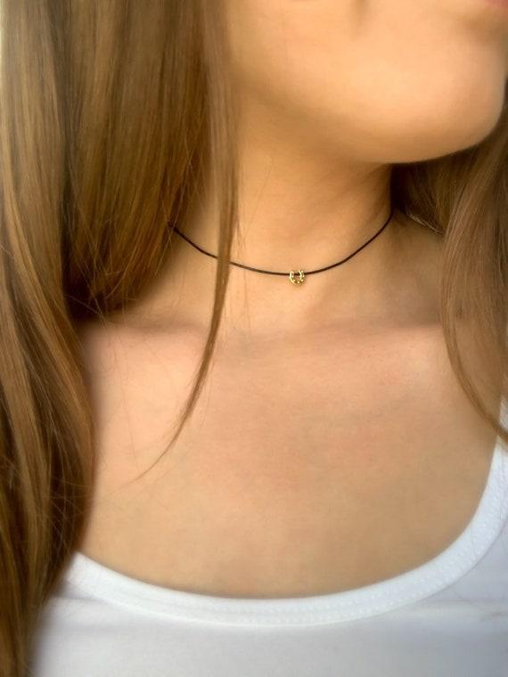 CHOKER NECKLACE / Rose Quartz Round Gemstone  / Adjustable Necklace in Gold, Silver, or Rose Gold