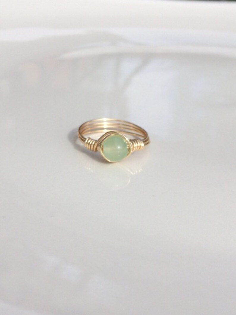 Stacking Ring Green Crystal Ring Wire Ring or Rose Gold Ring Gold Green Chalcedony Gemstone Wire Ring Natural Ring Green Ring Silver