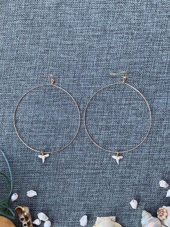 Shark Tooth Earrings, Shark Tooth Jewelry, Shark Tooth Hoop Earrings, Fossil Jewelry, Fossil Earrings, Beach Earrings, Fossil