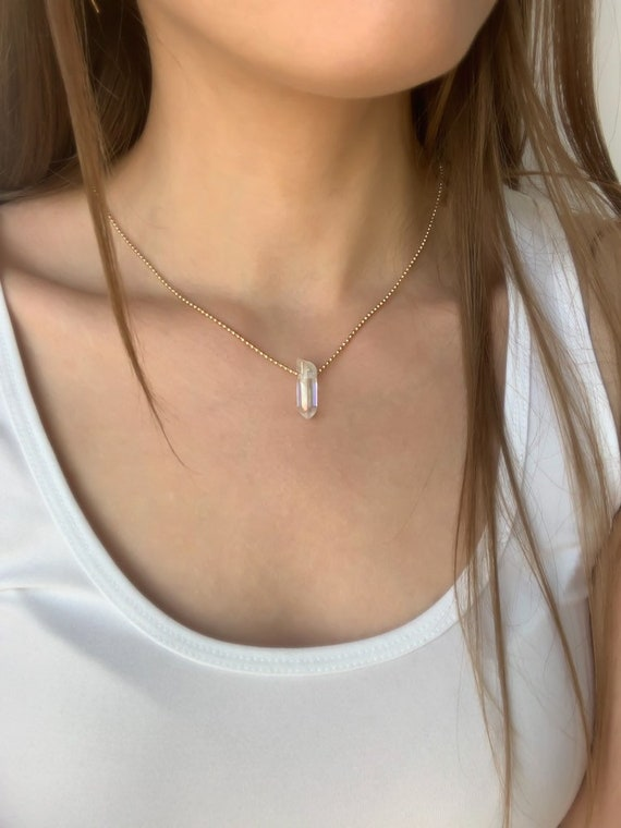 Crystal Necklace With Angel Aura Quartz in gold or silver, simple gold necklace, minimal jewelry, Gold Necklace / Gemstone Necklace