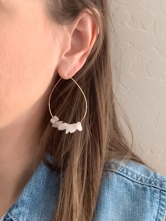 HOOP EARRINGS / Rose Quartz / Gemstone Teardrop Hoop Earrings in Gold Filled, Rose Gold Filled, or Sterling Silver
