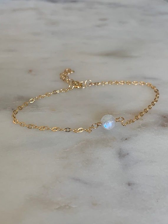 Moonstone Bracelet, June Birthstone Bracelet, Rainbow Moonstone Bracelet, Tennis Bracelet, Stacking Bracelet, Blue Flash, Moonstone