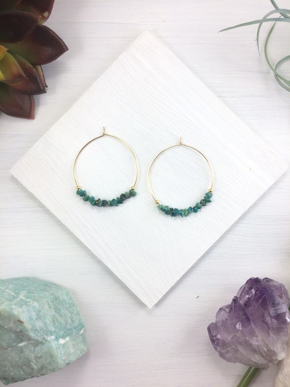 Genuine Turquoise Hoops, Beaded Hoop Earrings, Natural Turquoise Dangle Earrings, Hoop Earrings, December Birthstone Gift, Boho Earrings
