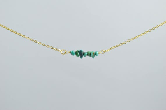 Turquoise Chip Bar Necklace