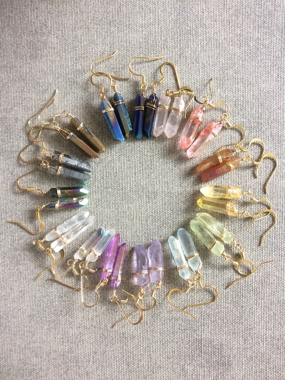 Colorful Raw Quartz Crystal Drop Earrings
