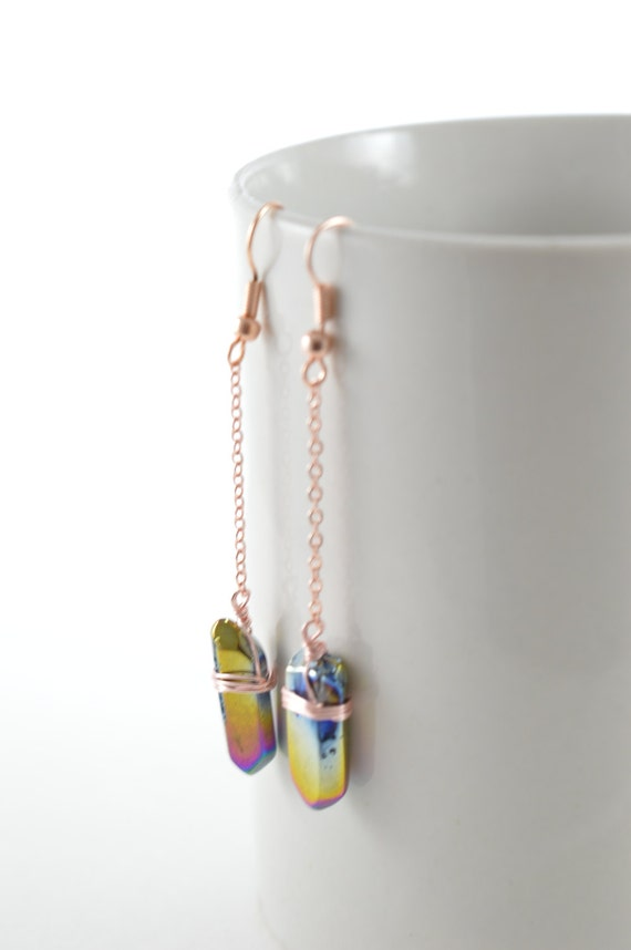 Rainbow Titanium Quartz Crystal Chain Drop Earrings
