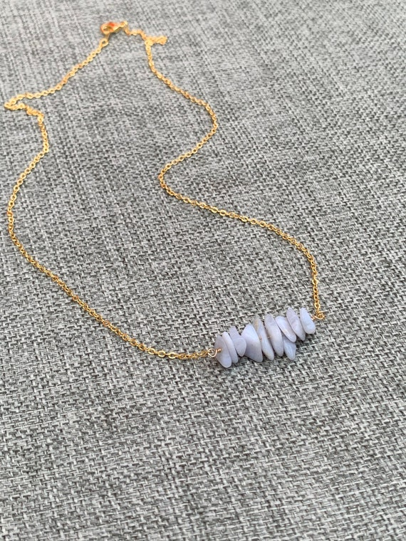 BLUE LACE AGATE Raw Gemstone Necklaces, Raw Crystal Choker, Gemstone Bar Necklace, Genuine Simple Stone Necklace, Rose Gold, Raw Moonstone