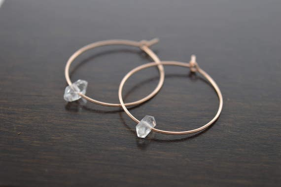 Single Herkimer Diamond Hoops