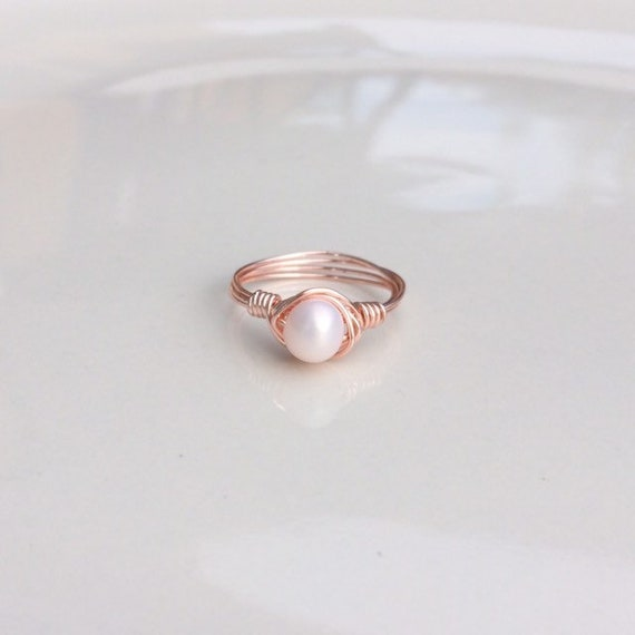 Light Pink Freshwater Pearl Wire  Ring, June Birthstone Ring, Pearl Birthstone Ring, Genuine Freshwater Pearl, Birthstone, Wire Wrapped