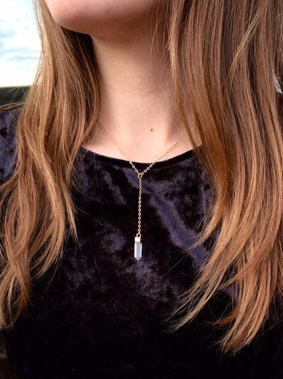 Gold or Silver Dipped Quartz Lariat