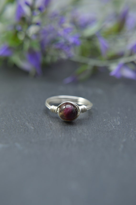 Watermelon Tourmaline Wire RIng