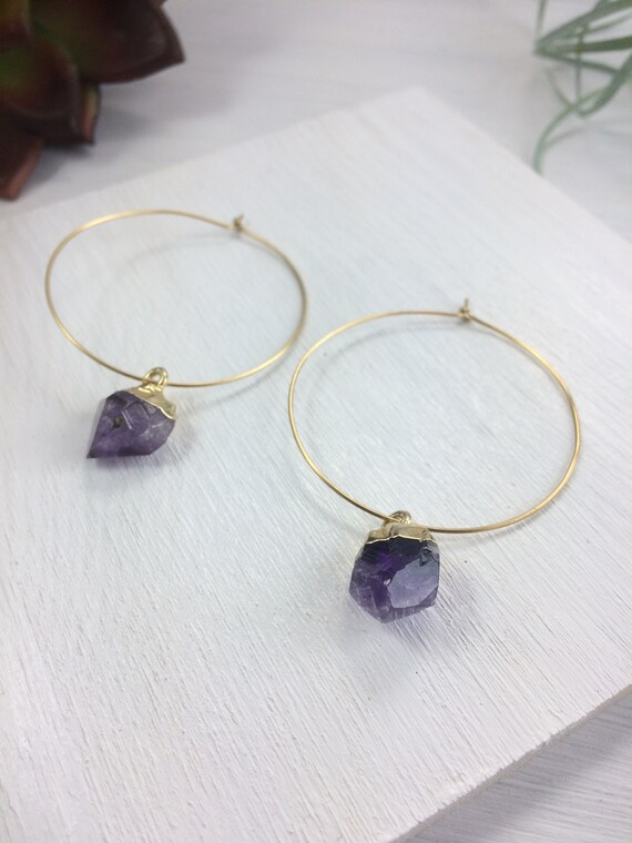 Gold Dipped Amethyst Earrings, Raw Crystal Earrings, Hoop Earrings