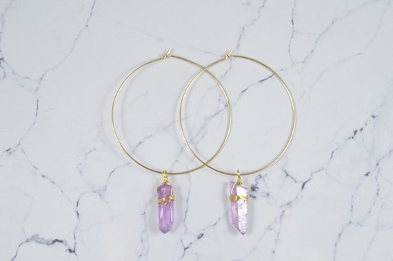 Lavender Purple Aura Quartz Crystal Hoop Earrings Lavender Quartz Wire Wrapped Hoop Earrings, Raw Quartz Point Earrings