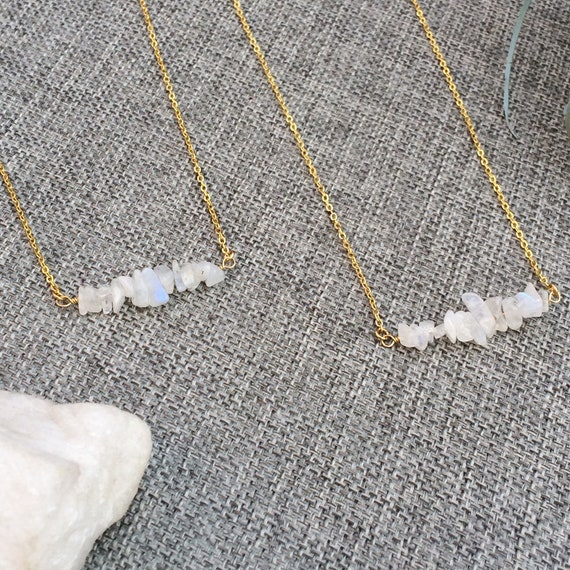 Raw Gemstone Necklaces, Raw Crystal Choker, Gemstone Bar Necklace, Genuine Simple Stone Necklace, Rose Gold, Raw Moonstone