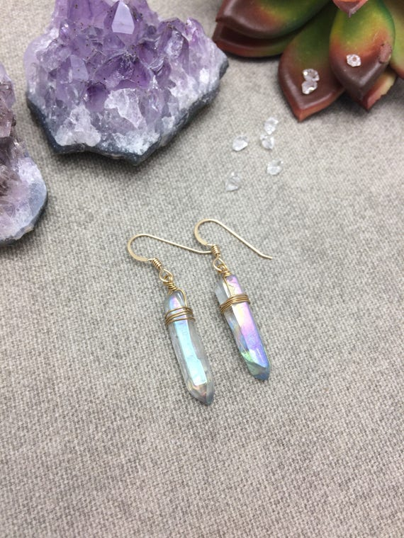 Blue Aura Quartz Crystal Point Earrings