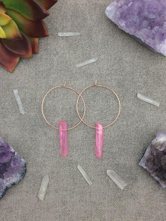 Pink Quartz Crystal Hoop Earrings, Raw Quartz Point Earrings, Rose Gold Earrings, Rose Gold Hoops