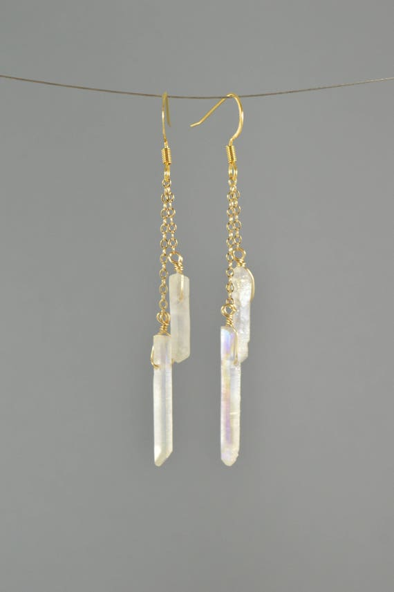 Raw Aura Quartz Crystal Point Double Chain Drop Earrings