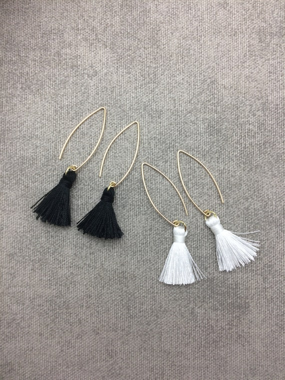 Tassel Earrings, Hoop Earrings, Black or White Mini Tassel, Tassel Earrings, Lightweight, Cotton Tassel, Simple Tassel Earring