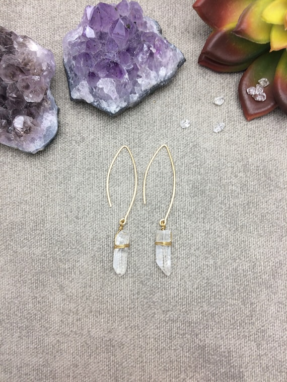 Raw Quartz Crystal Arc Earrings
