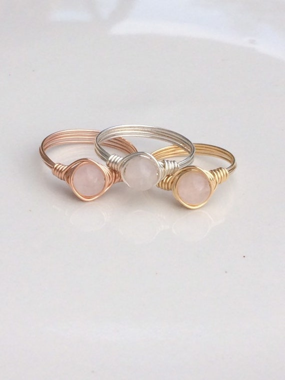 Rose Quartz Wire Ring