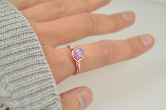 Chalcedony Purple Wire Ring