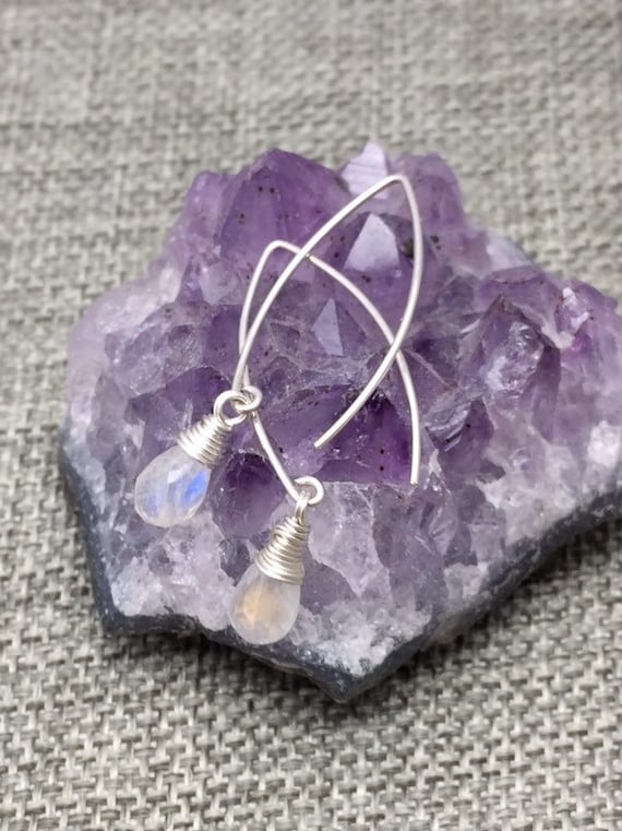 Rainbow Moonstone Arc Earrings
