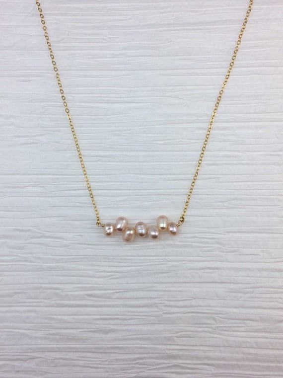 Peach Pearl Choker Necklace