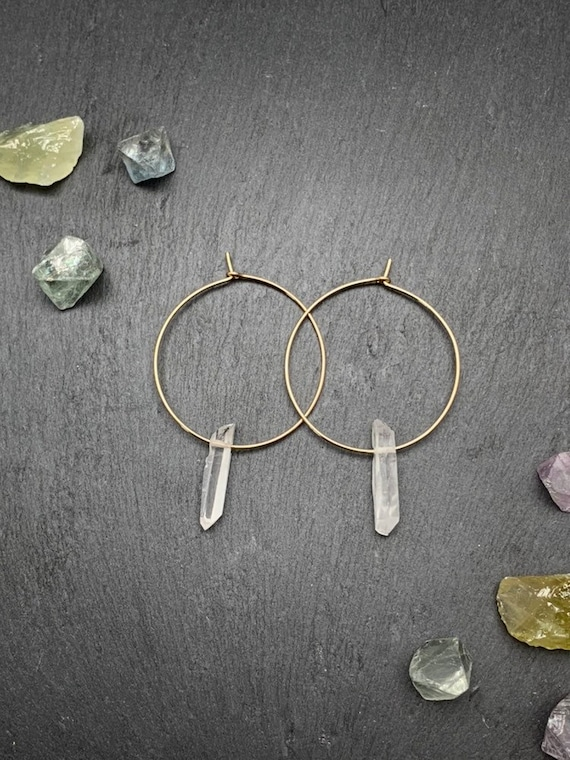 Quartz Raw Crystal Hoop Earrings, Raw Quartz Point Earrings
