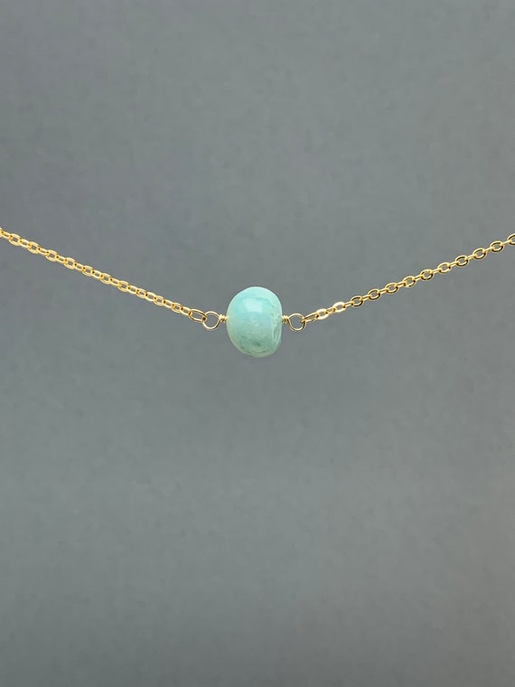 Polished Raw Amazonite Gemstone Necklace, Natural Stone Gift, Crystal Necklace, Natural Stone Pendant, Bridesmaids Gift