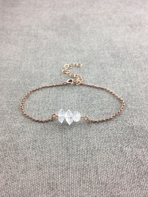 Herkimer Diamond Bracelet, April Birthstone Bracelet, Diamond Bracelet, Tennis Bracelet, Stacking Bracelet, Raw Herkimer Diamond Bracelet