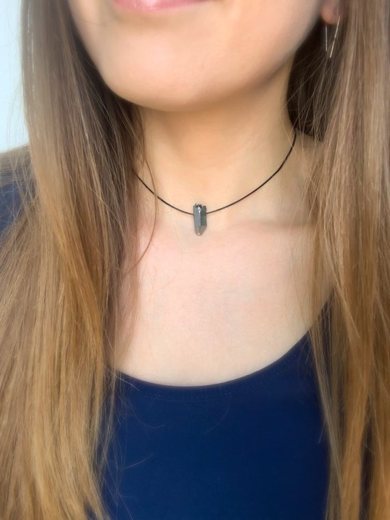 CHOKER NECKLACE / Silver Quartz Crystal  / Adjustable Necklace in Gold, Silver, or Rose Gold