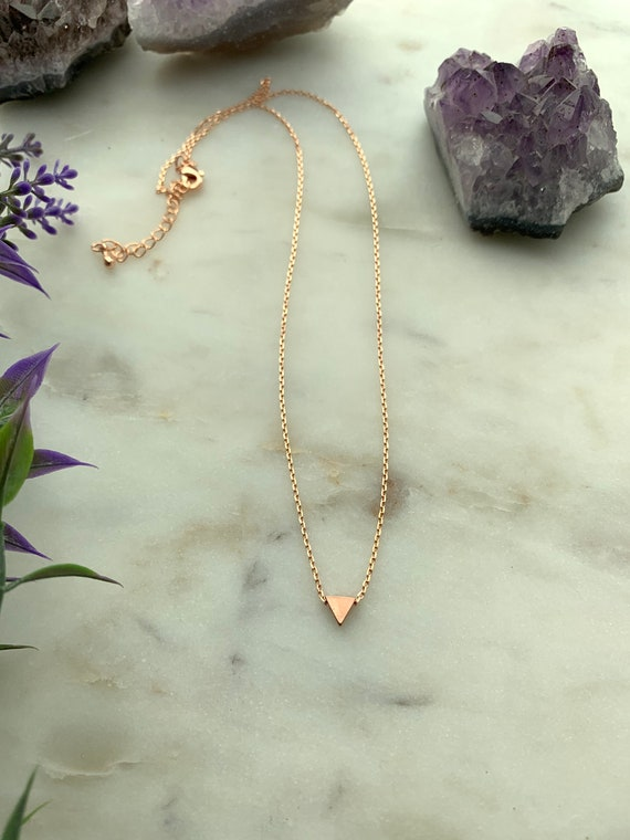6mm Tiny Triangle Necklace in 14k Gold Filled, Rose Gold Filled, Sterling Silver, or Plated / Pendant Necklace