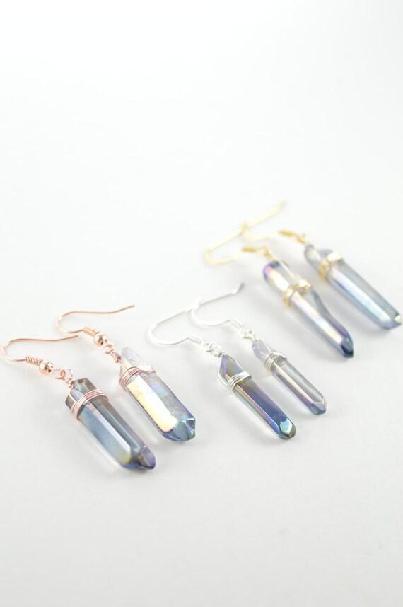 Denim Blue Rainbow Aura Quartz Crystal Point Earrings