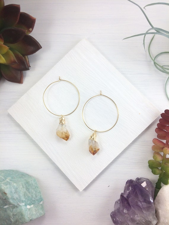 Raw Citrine Hoops