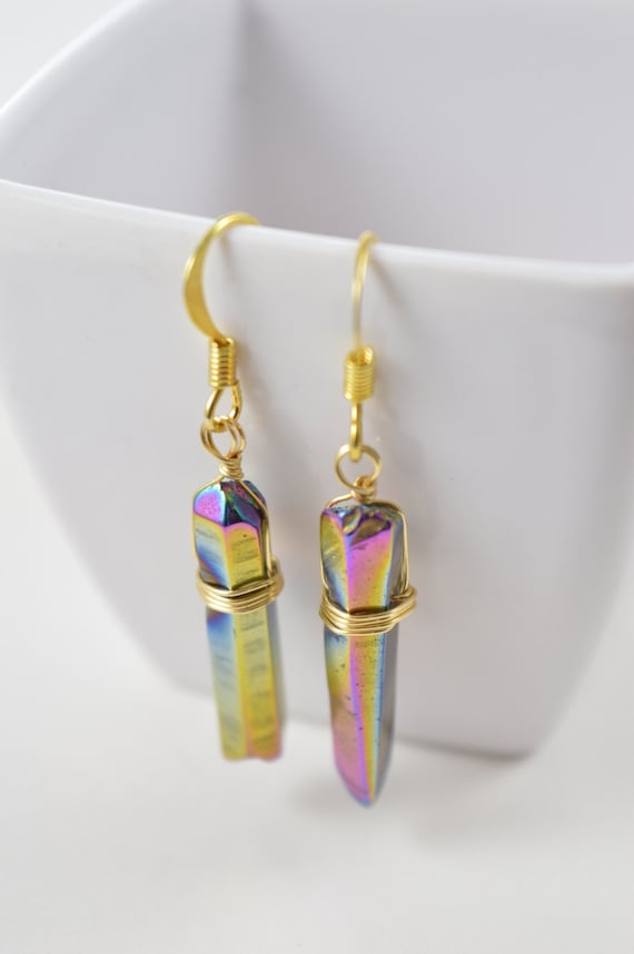 Rainbow Titanium Quartz Crystal Point Earrings