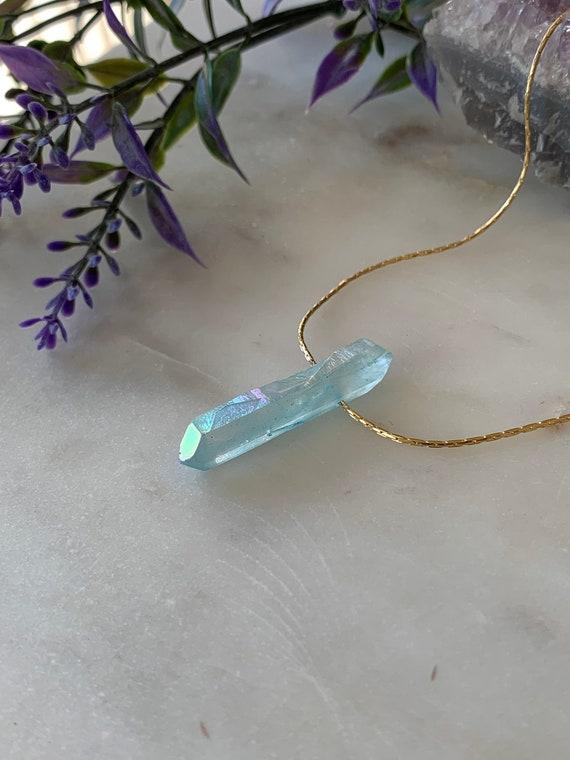 Blue Quartz Point Necklace, Rock Crystal Necklace, Clear Crystal Necklace, Crystal Quartz Necklace, Raw Quartz Crystal, Natural Quartz
