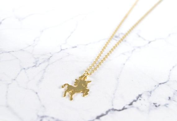 Tiny Gold Unicorn Necklace