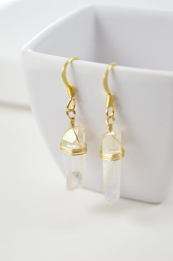 Angel Aura Quartz Crystal Point Earrings, Clear Quartz Earrings