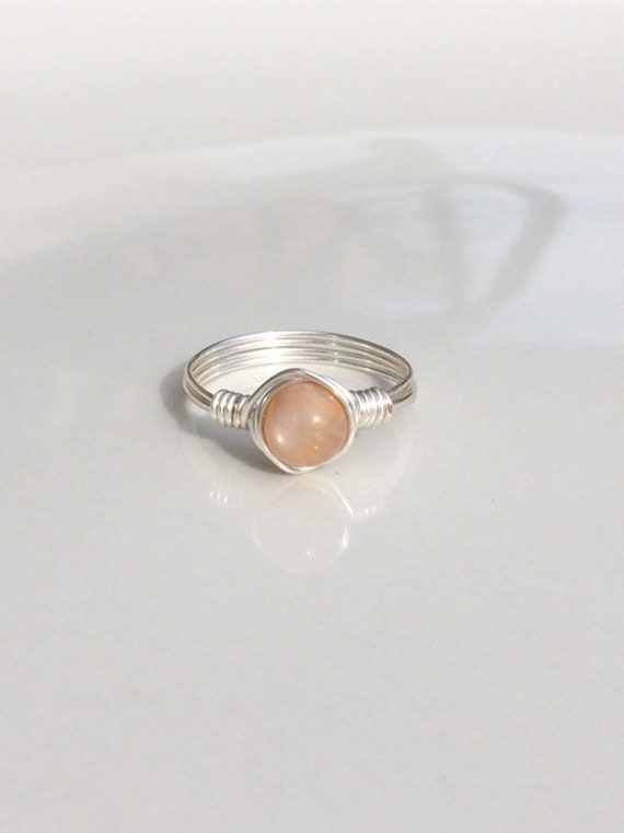 Peach Moonstone Wire Ring