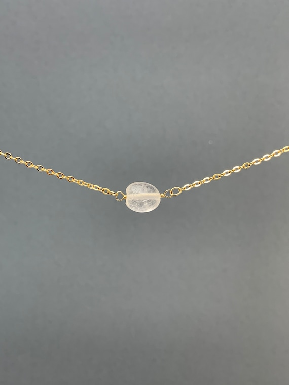 Polished Raw Clear Quartz Gemstone Necklace, Natural Stone Gift, Crystal Necklace, Natural Stone Pendant, Bridesmaids Gift
